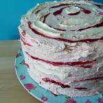 Raspberry Ripple Layer Cake with raspberry and white chocolate Italian meringue buttercream