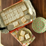 Luscious Leon lemon bars - a shortbread base with a lemon curd like topping baked right on.