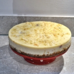 Cherry Bakewell Cheesecake baked in the oven, in a water bath