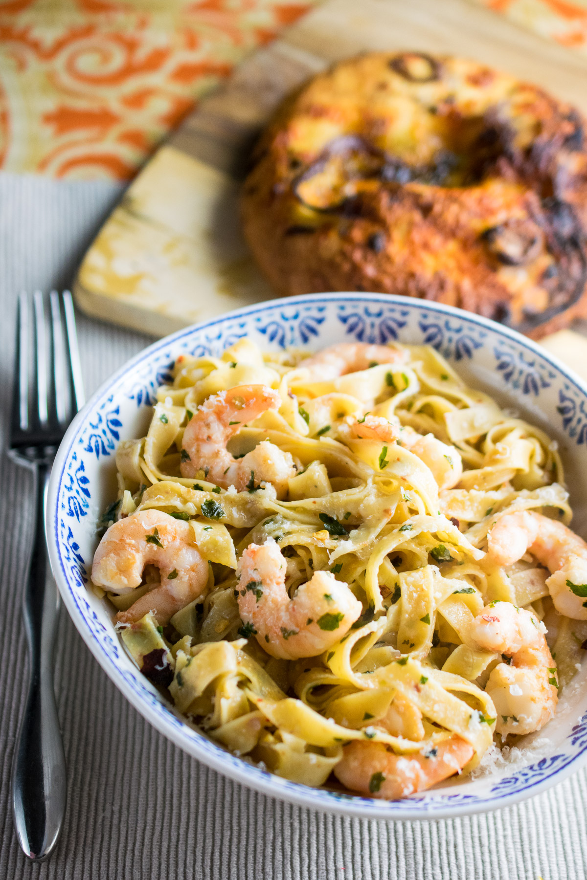 Chilli Pasta with Garlic Butter Prawns