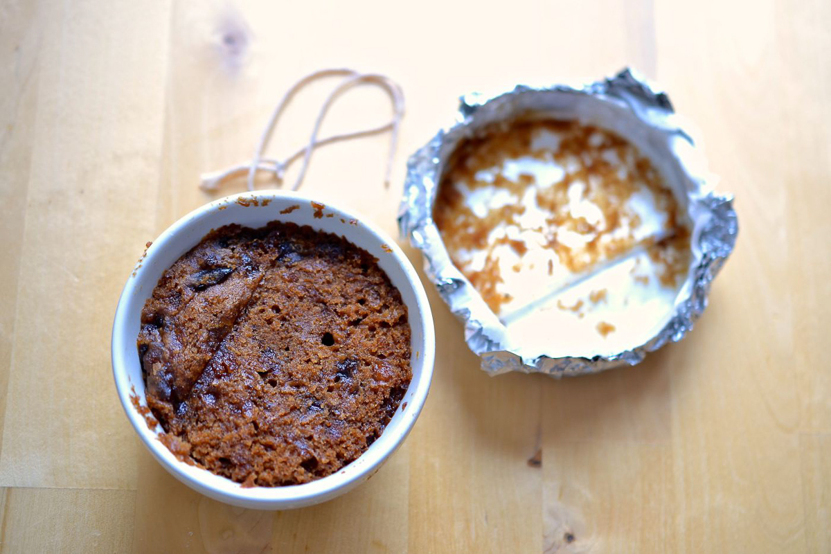 A single serving gluten free Christmas pudding which can be made at the very last minute very simply