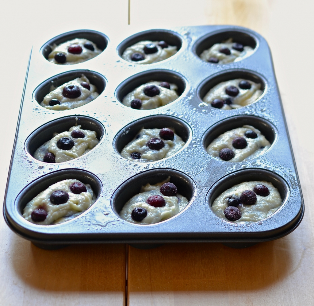Blueberry friands in the making