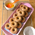 Baked Baby Donuts brushed with butter and rolled in pumpkin pie spice sugar