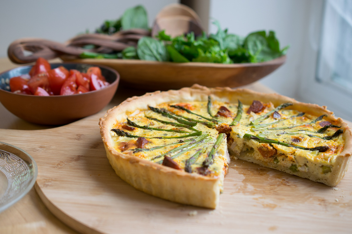 Chicken, Chorizo & Asparagus Quiche