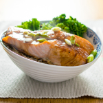Sake Salmon - a tasty sake marinade turns these salmon fillets into dinner in just 7 minutes!