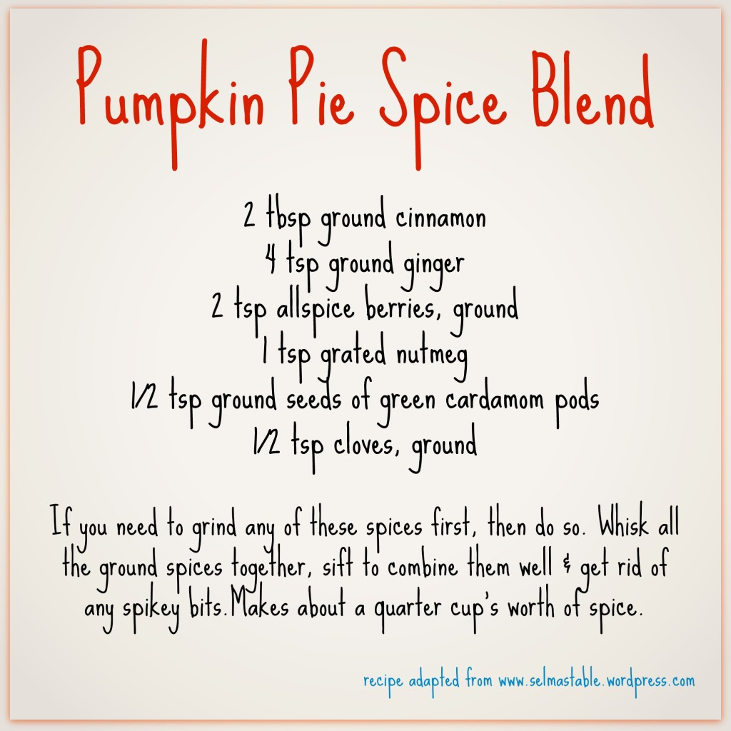 Pumpkin pie spice recipe