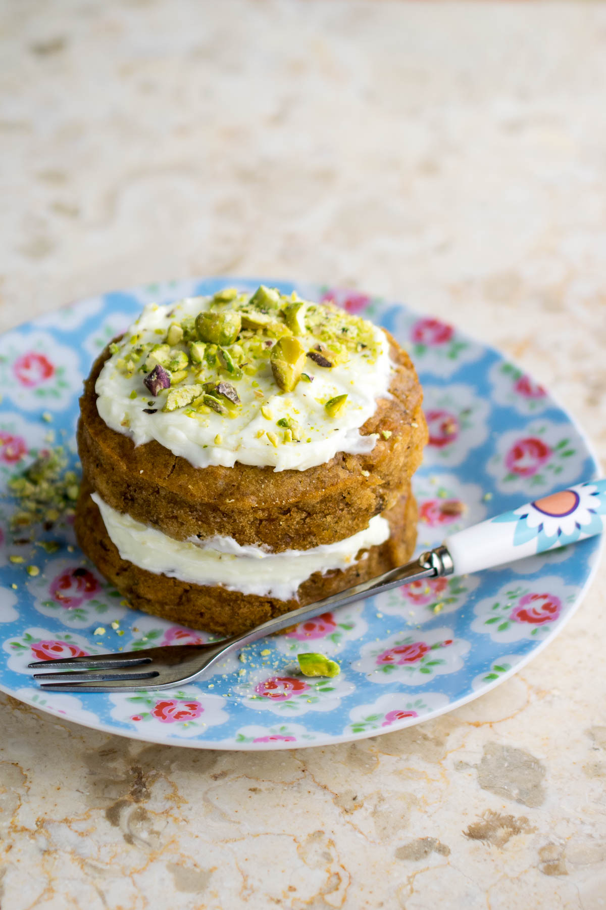 A single serving carrot cake for one
