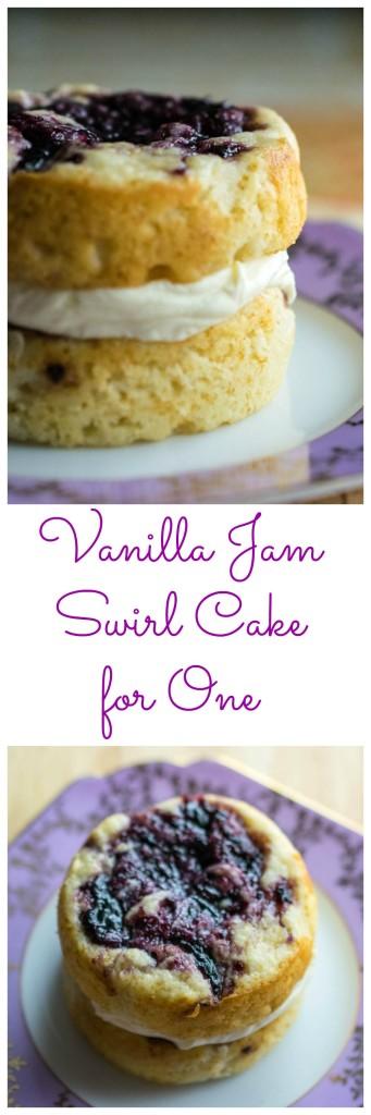 vanilla jam swirl cake for one