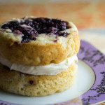 A mini vanilla cake to serve one (or two), made in ramekins with a jam swirl baked right in.