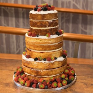 Naked wedding cake made with vanilla yogurt sponge