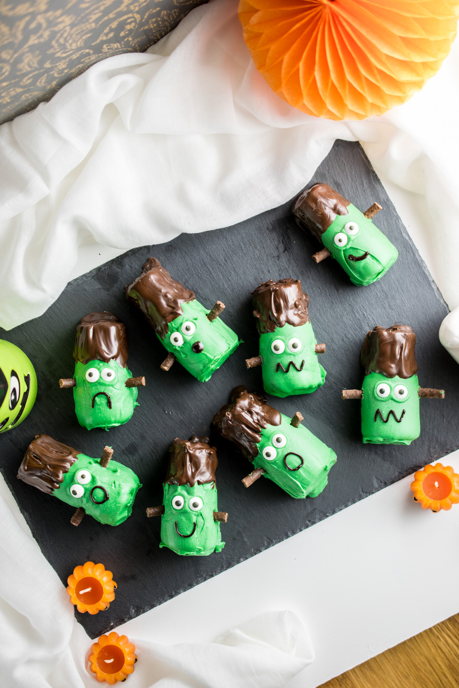 Chocolate Mint flavoured mini rolls dressed up to look like little Frankenstein's monsters!