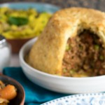 Instant Pot Keema Pie or Pudding - suet pastry filled with Indian spiced minced lamb