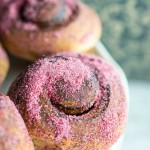 Morning Buns are a hybrid of a croissant and Danish. These ones are flavoured with raspberry sugar and they are sublime