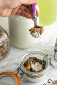 Thick and creamy Greek yogurt made in the Instant Pot served with a topping of homemade granola
