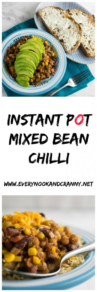 Instant Pot Mixed Bean Chilli - so good, you wont miss the carne!