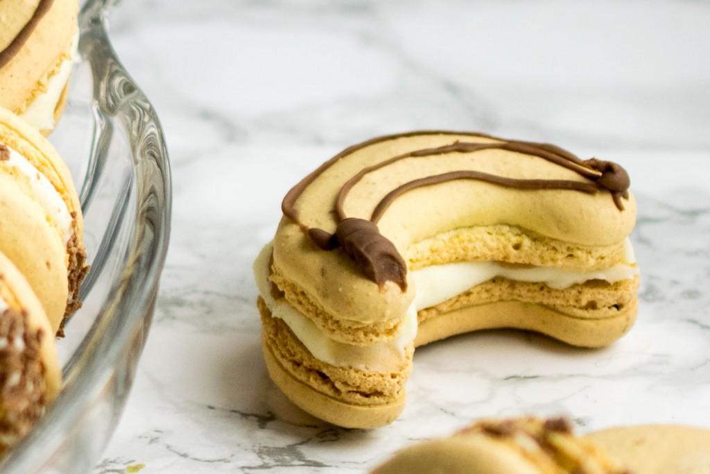 Banoffee Macarons - banana shells filled with vanilla buttercream and banana flavoured dulce de leche