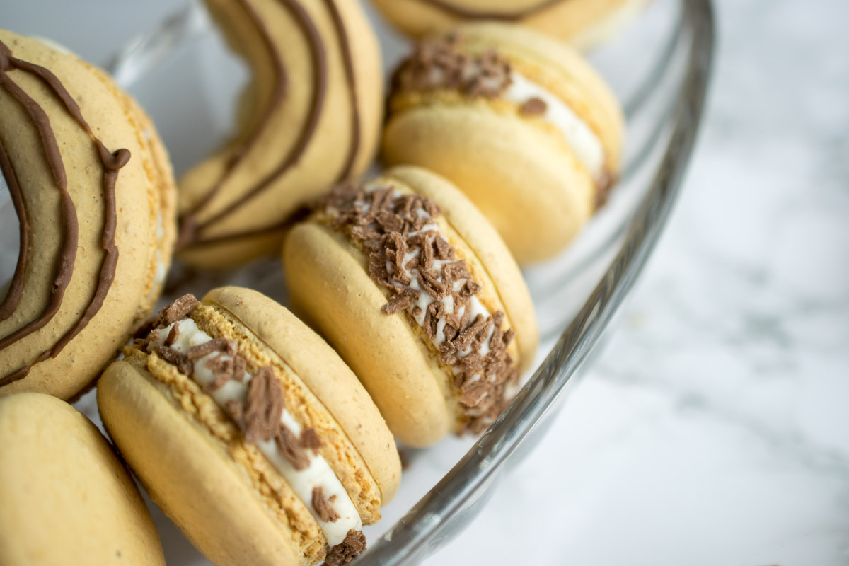 Banoffee Macarons - banana shells filled with vanilla buttercream and banana flavoured dulce de leche