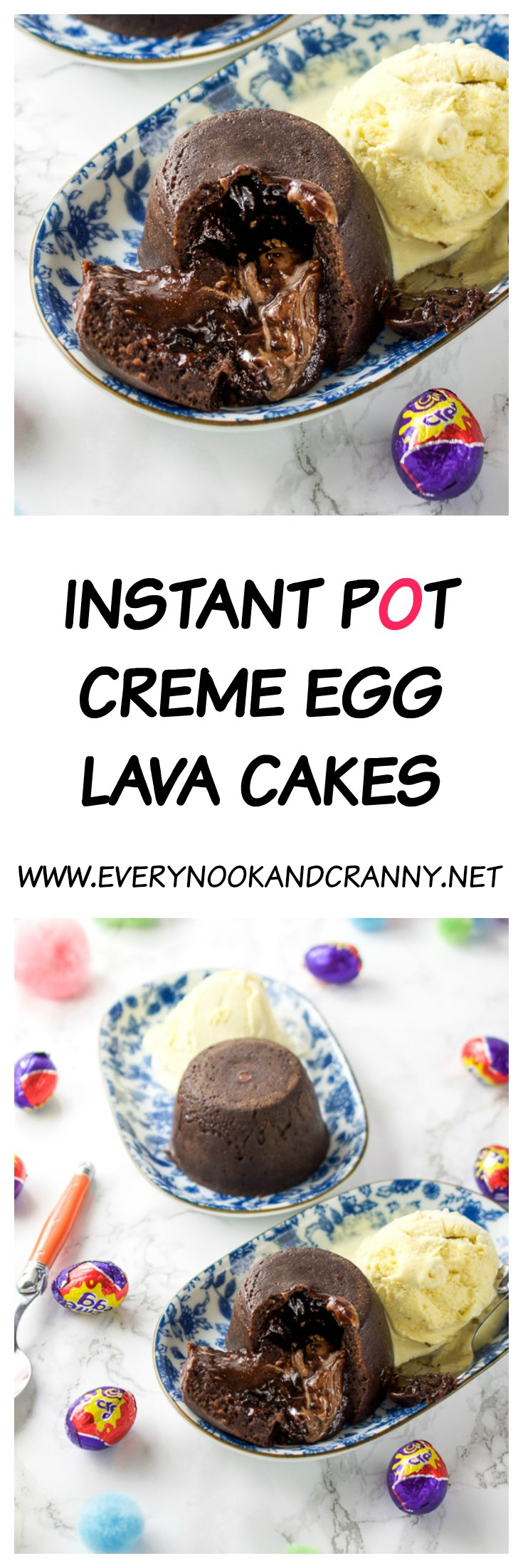 Molten middle Creme Egg lava cakes cooked in the Instant Pot