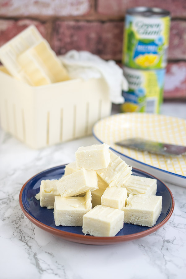 Chunks of fresh Indian cheese made in the pressure cooker!
