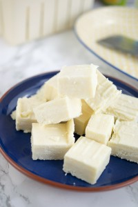 Chunks of fresh paneer made in the pressure cooker