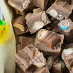Melt down all your Easter chocolate, add condensed milk and crumbed digestive biscuits and stir in the mini Easter eggs and make this delicious no bake slice