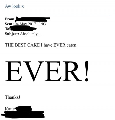 """Absolutely... THE BEST CAKE I have EVER eaten. EVER!"""