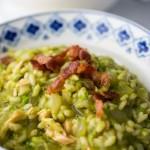 Instant Pot Salmon, Pea and Bacon Risotto