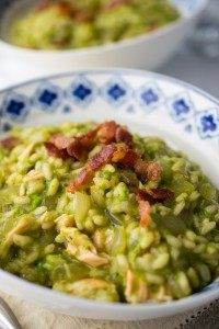 Instant Pot Salmon, Pea and Bacon Risotto