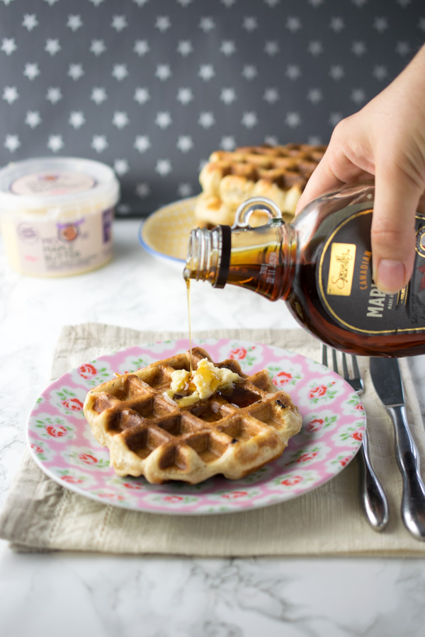 How to make sweet yeasted dough waffles with pearl sugar kneaded in to give little pockets of caramelised deliciousness