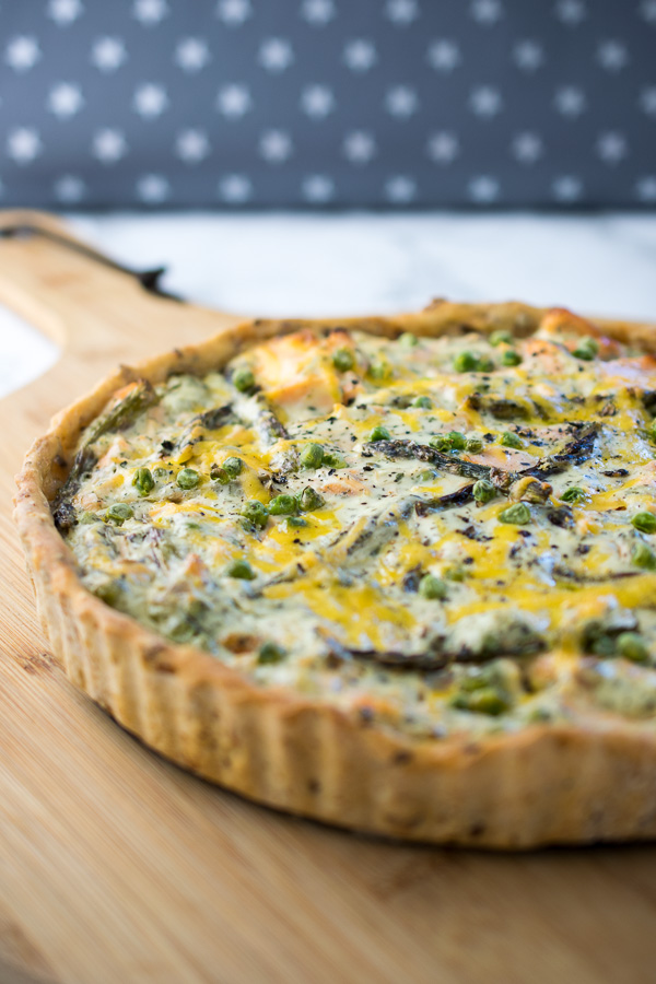 Salmon, Asparagus and Pea Quiche