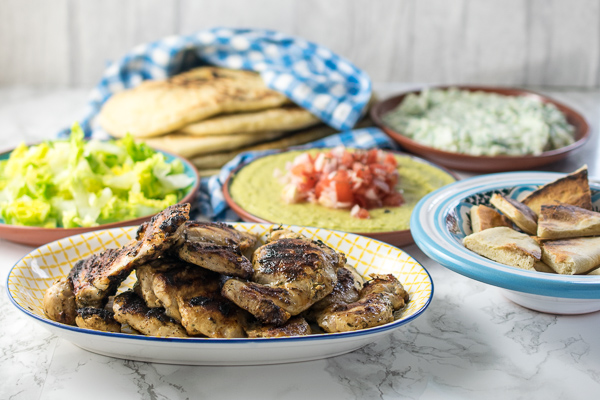 Greek chicken dinner mezze style