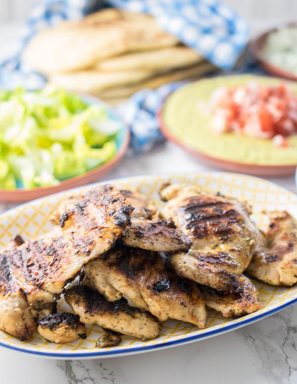 Greek chicken dinner mezze style