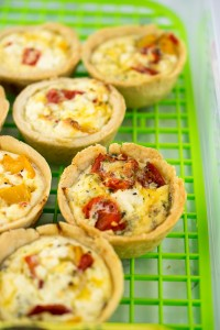 Miniature feta and roasted pepper quiches