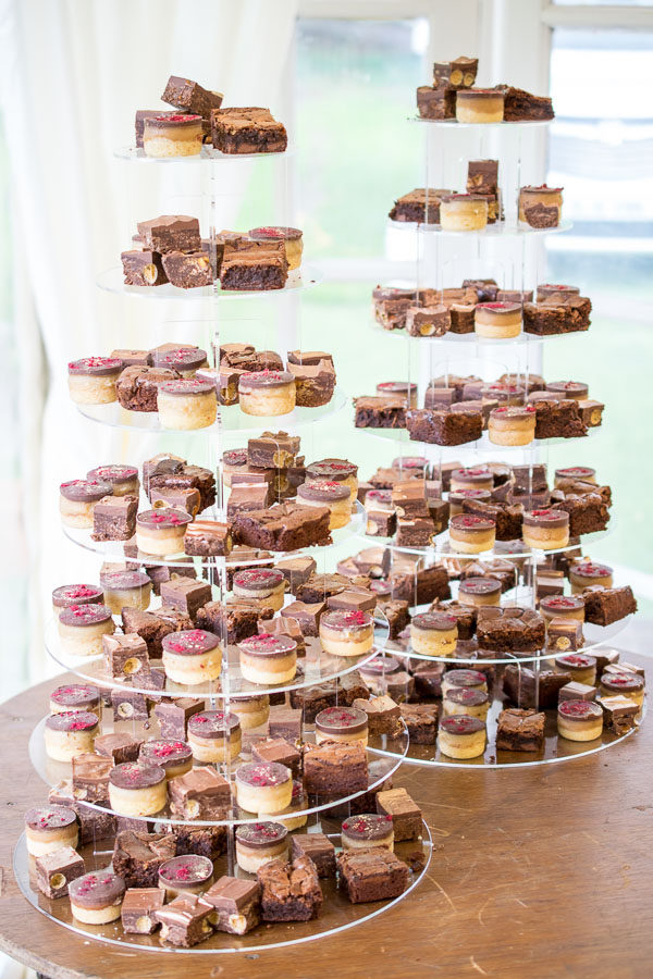 Kevin & Laura's wedding cakes - a tower of chocolate orange bronwies, millionaire's shortbread bites and no bake malteser slice.