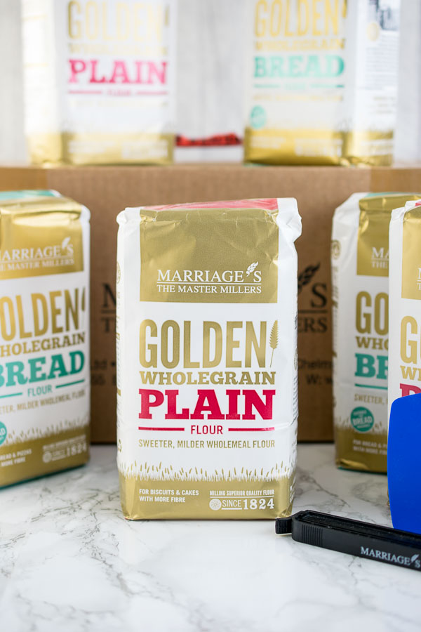 Marriage's Flours new range of wholegrain golden flour - available in plain or strong bread varieties