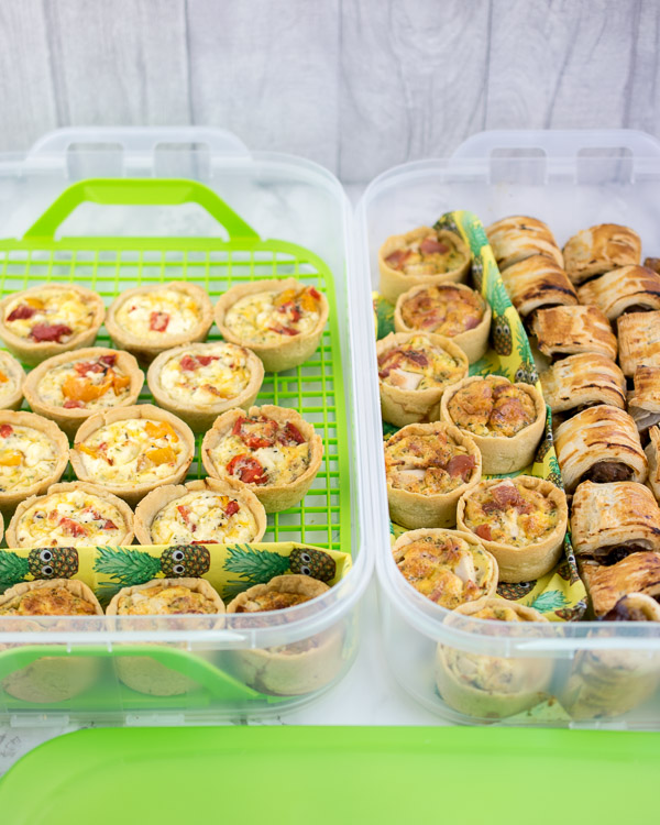 Mini quiches and sausage rolls - picnic perfection!