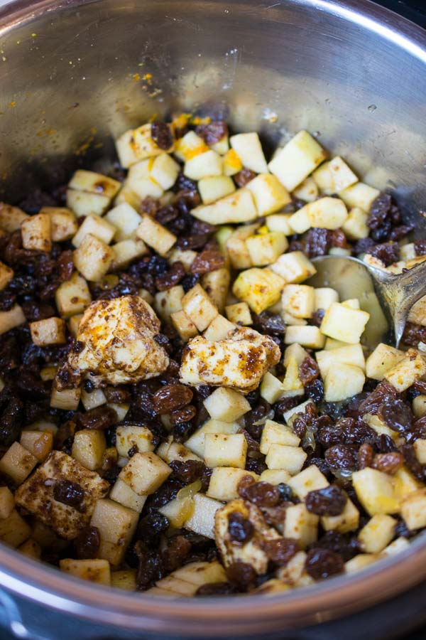 The mix before pressure cooking the mincemeat - make sure to mix it very thoroughly