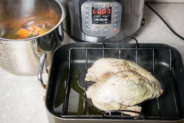 A turkey crown cooked in the Instant Pot before a quick browning in the oven