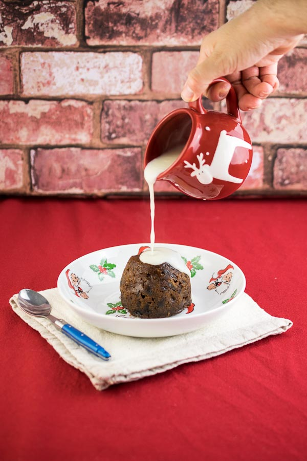 Mini Christmas Pudding with homemade Rum Sauce