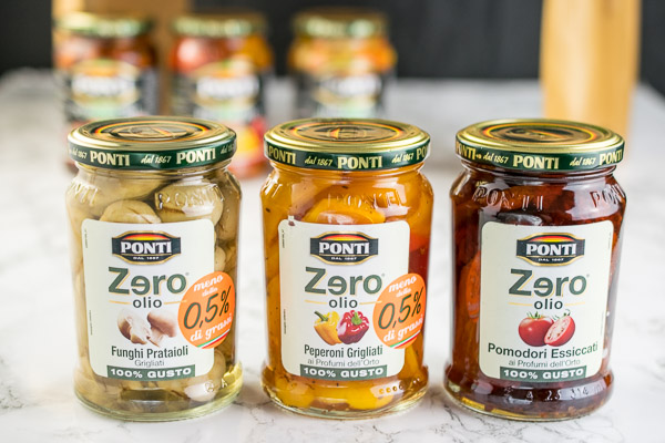 Ponti Zero Oil products - mushrooms, peppers and sundried tomatoes