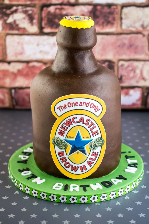 A dairy free chocolate Guinness cake made to look like a Newcastle Brown ale bottle :D