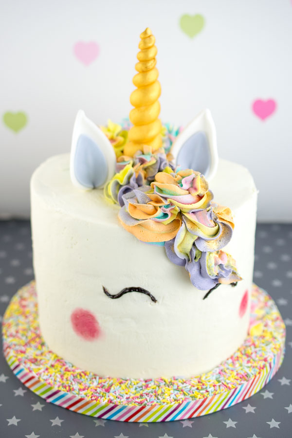 Unicorn cake, filled with my trademark vanilla yogurt cake and milk chocolate ganache
