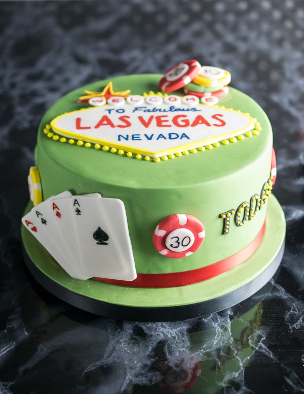 Las Vegas Poker themed birthday cake