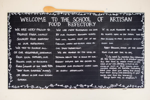 Welcome board in the School of Artisan Food refectory