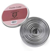 Round Cookie Cutter Stainless Steel Pastry Biscuit Cake Cutters from 9.5cm to 2.7cm Set of 11 by KAISHANE